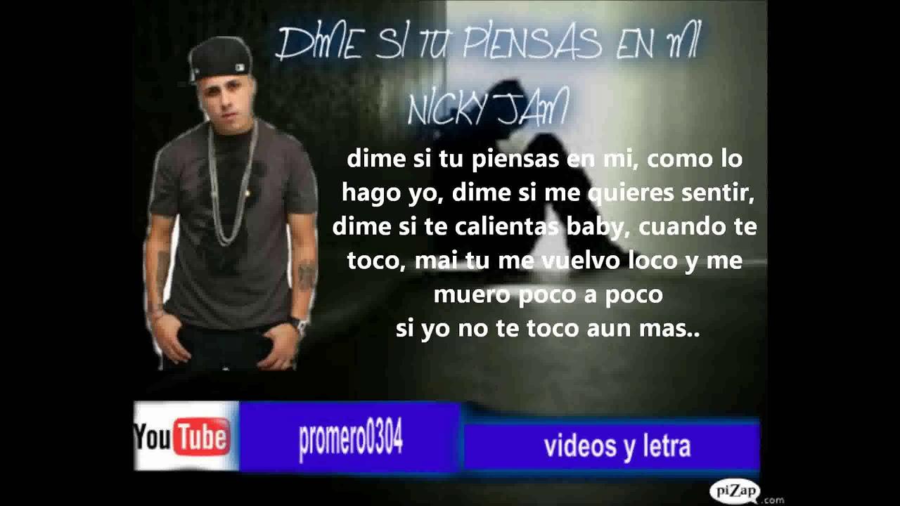 Dime Si Tu Piensas En Mi Nicky Jam Letra Youtube