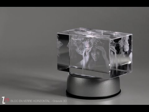 bloc en verre horizontal gravure 3d youtube. Black Bedroom Furniture Sets. Home Design Ideas