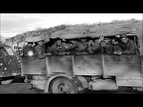 Italian Co-Belligerent Army. Truck loaded with Italian soldiers and barracks bags...HD Stock Footage