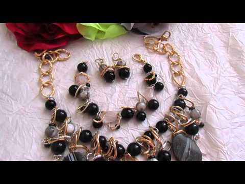 Мои любимые украшения. Черные агаты и розовые кварцы от Ксении