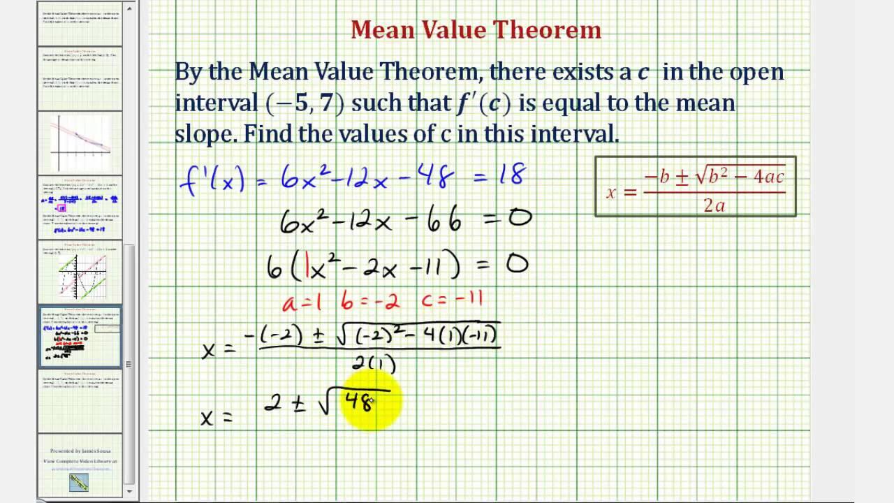 Ex 4 Mean Value Theorem Quadratic Formula Needed Youtube