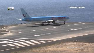 Madeira Airport landings and takeoffs Monday morning. Various airlines. 2