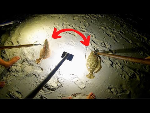 Flounder Gigging On The BEACH (Amazing Results)