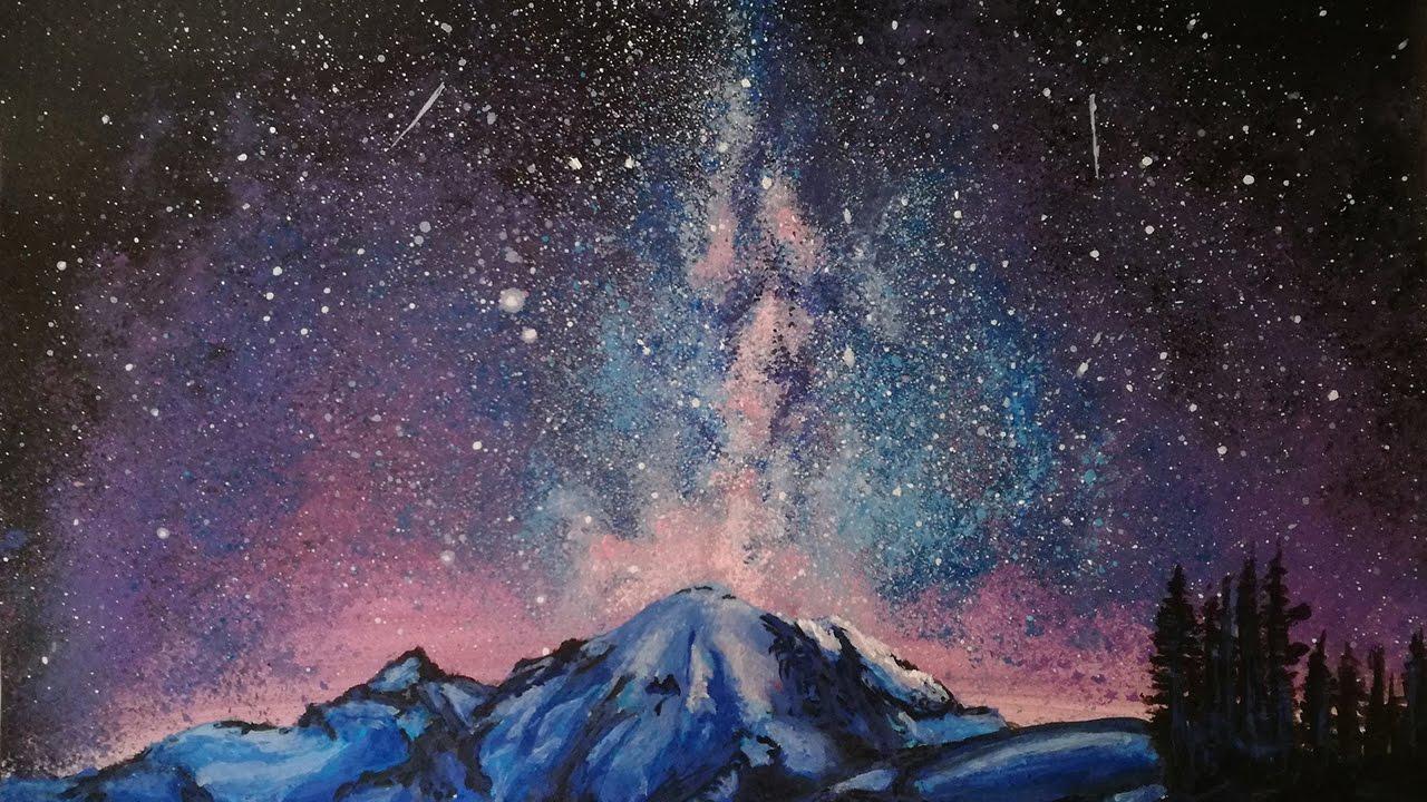 Acrylic Painting Milky Way Galaxy Landscape #261