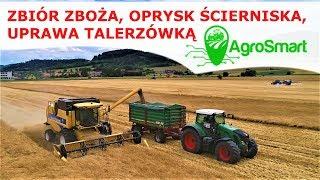 Zbiór zboża, oprysk ścierniska, uprawa talerzówką z systemem AgroSmart (Prezentacja)