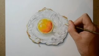 How I Draw a Fried Egg - Realistic Still Life Drawing