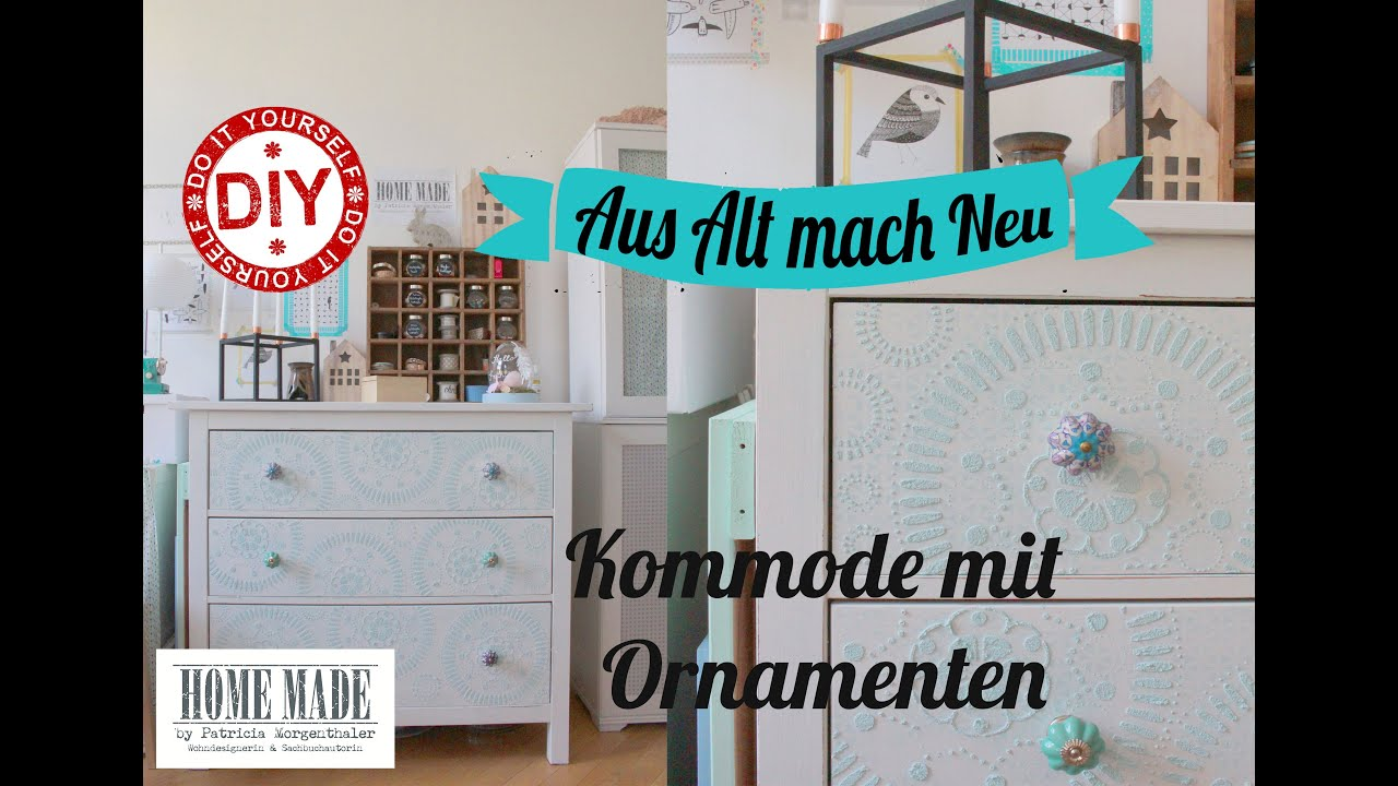 how to kommode mit ornamenten i ikea hack i deko inspirationen i homemade by patricia youtube. Black Bedroom Furniture Sets. Home Design Ideas