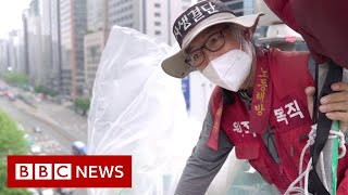 The South Korean Samsung protester living in the sky - BBC News