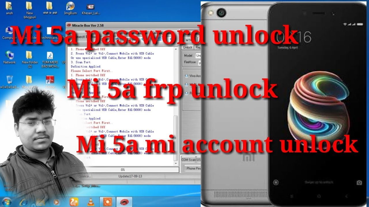 Mi 5a password ,frp lock,mi account unlock with miracle box crack 2 58 by  ansh mobile