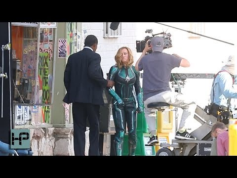 Brie Larson and Samuel L Jackson Young Nick Fury Film Scene for Captain Marvel