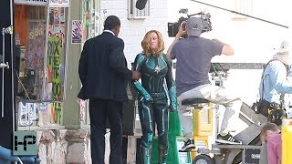 Brie Larson and Samuel L. Jackson (Young Nick Fury) Film Scene for