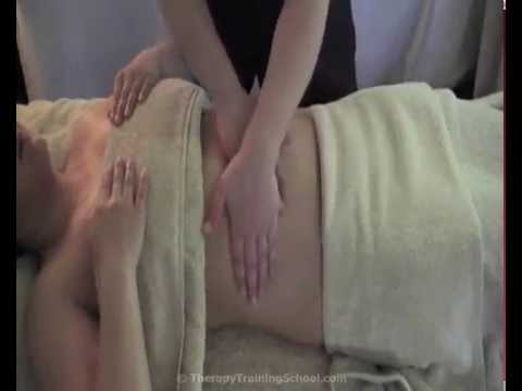 Swedish Massage Video 26 - Gently effleurage abdomen in a clock-wise direction (x6)