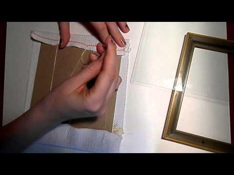 Как вышивку вставить в рамку