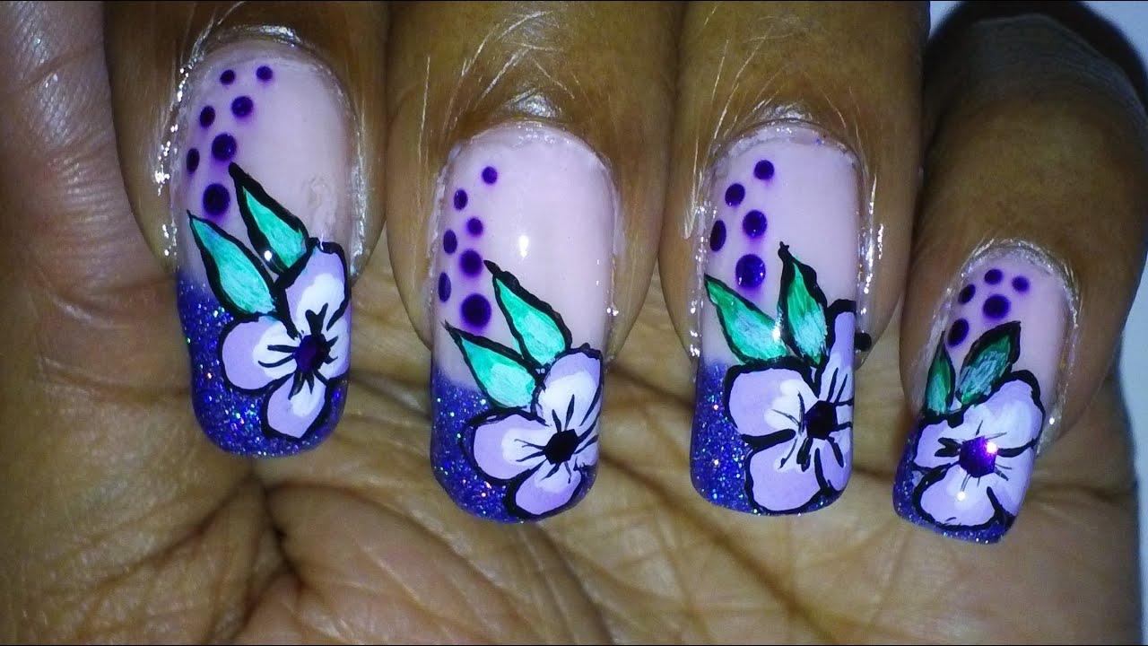 notw purple glitter french