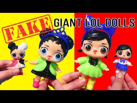 WOW Giant ! Toys and Dolls Fun with Fake LOL Surprise Doll & Opening New Lil Sisters Series 3 Wave 2