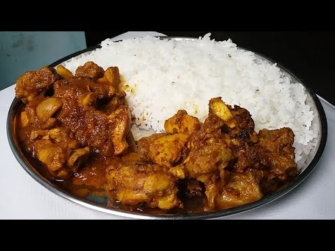 chicken kasha and chicken curry eating with rice best Indian food