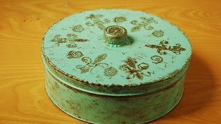 DIY Decorate Cookie Tin for storage   Home Décor