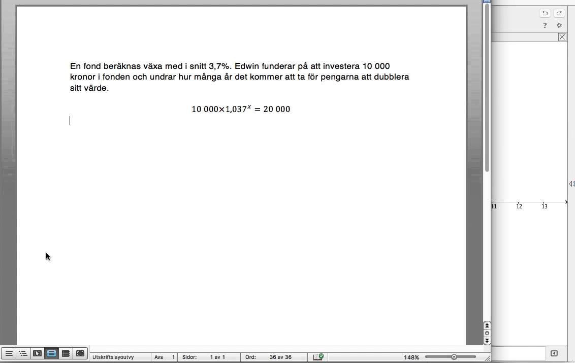Grafisk lösning av exponentialekvation med GeoGebra