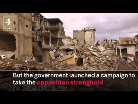 Un drone muestra la devastación total de la ciudad siria de Homs cercada durante cuatro años