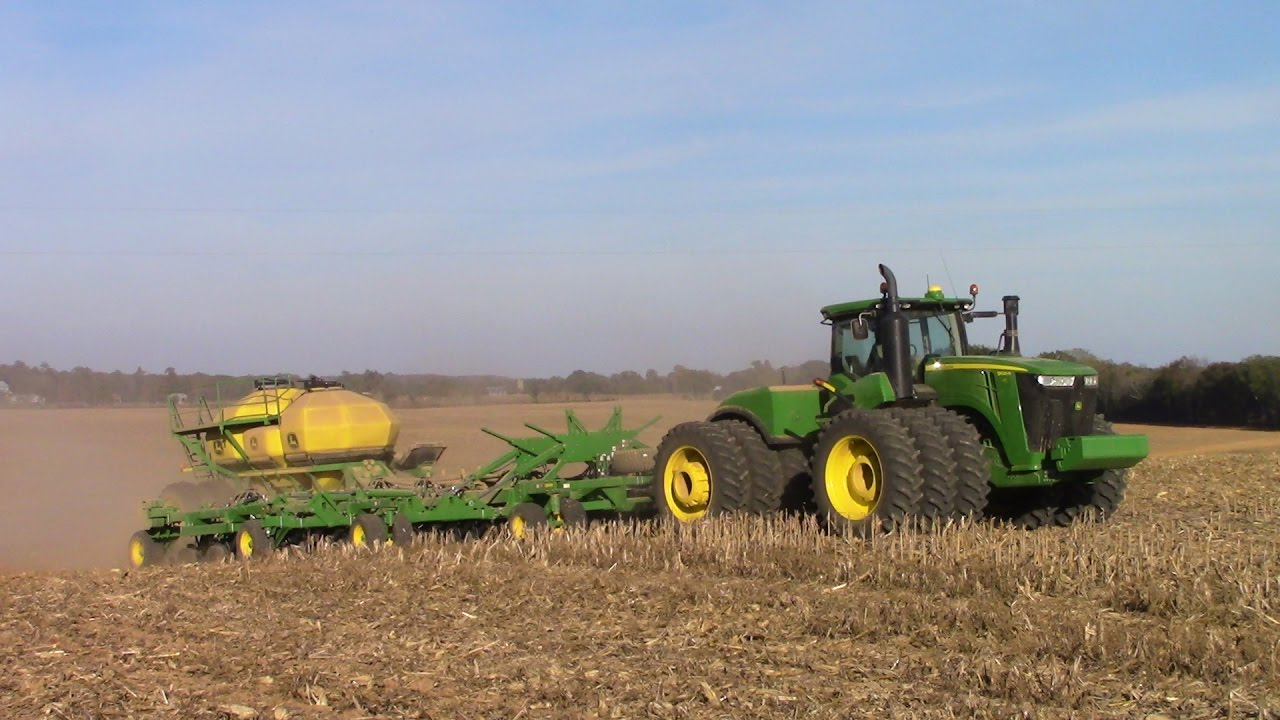 620 hp John Deere 9620R 4wd Tractor Seeding 50ft of Winter Wheat