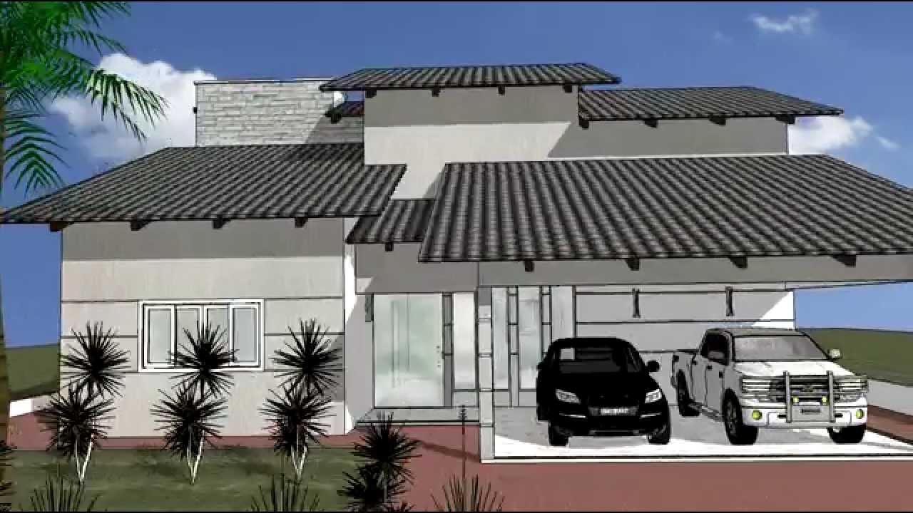 Desenho projeto sketchup casa 17 youtube for Casa 3d online