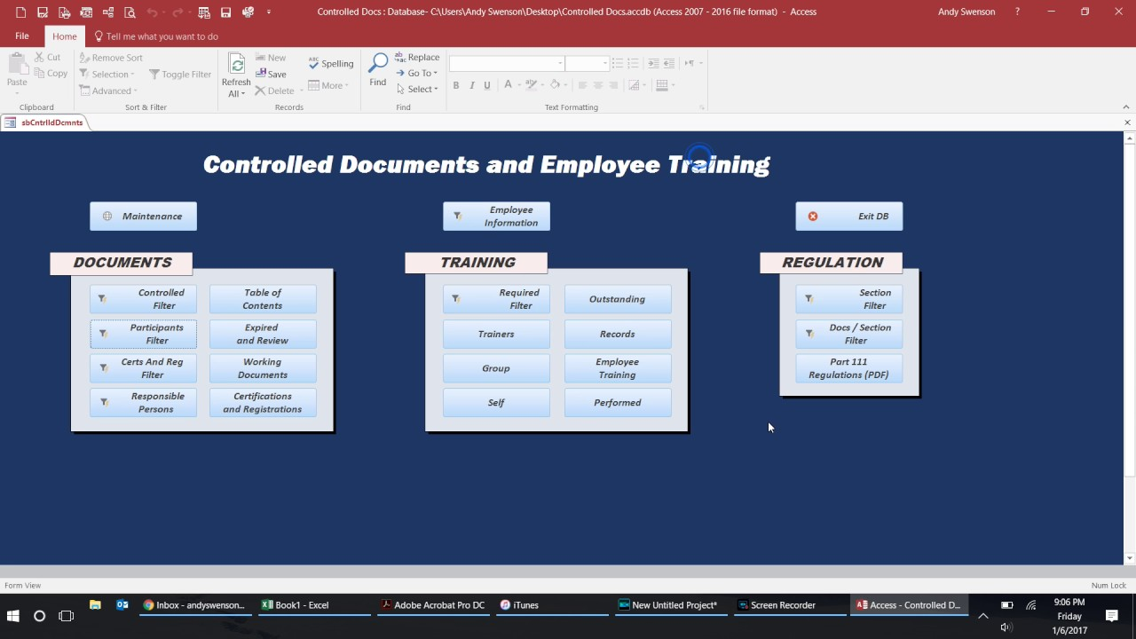access database template for training records