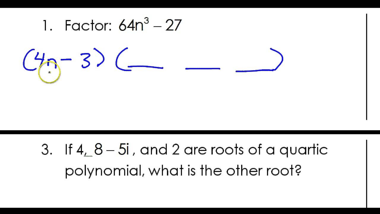 Day 0 #1 Factoring The Sum Or Difference Of Two Cubes Day 0 #1