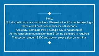 Credit Card Contactless Payment $100 and above