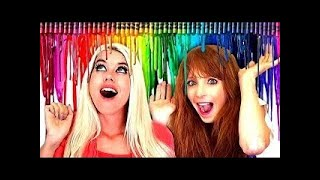 DIY CRAYOLA CRAYONS ART CHALLENGE!!! + Makeup & Beauty Life Hacks and Tips!!!