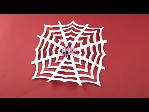 DIY ✧ Spider web of paper (Cobweb) for Halloween etc. (Decor, decoration for room) Tutorial