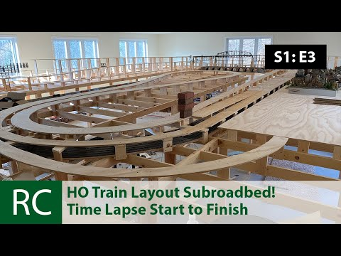 S1: E3: Giant HO Scale Train Layout Update: Subroadbed Installation.