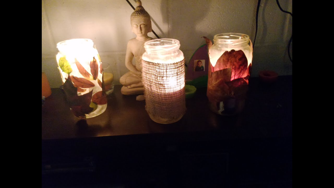Porta velas con frasco de vidrio manualidad oto al facil youtube - Velas y portavelas ...