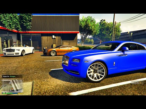 GTA 5 : TAKING DELIVERY OF ACE FAMILY ROLLS ROYCE WRAITH | MATTE BLUE WRAP | 4K |