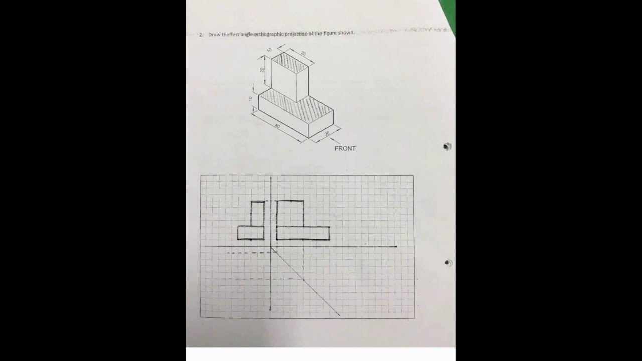Steps First Angle Orthographic Projection Worksheet 1 Question 2 – Orthographic Projection Worksheet