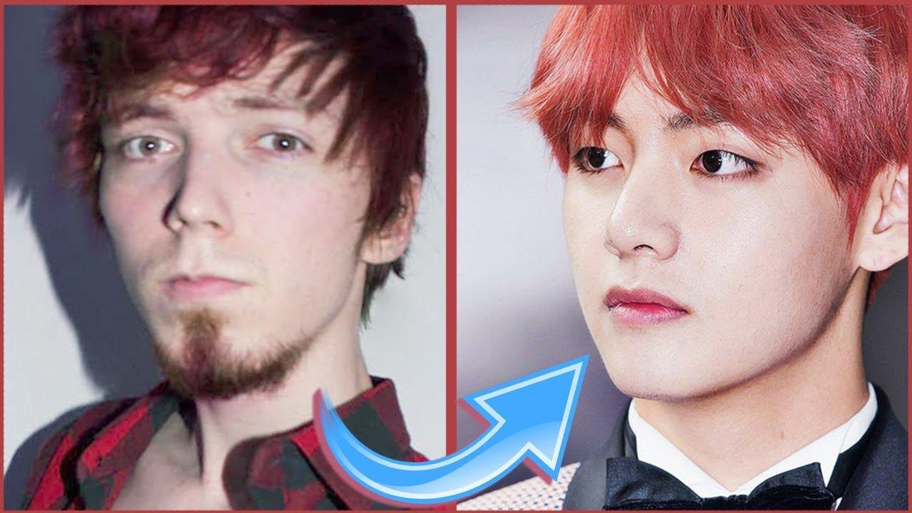 стал корейцем из Bts перевоплощение в тэхёна повторяю макияж я