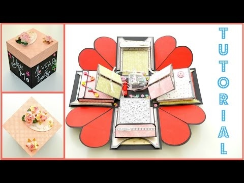 DIY Paper Crafts  - How to make an Exploding Box Card for valentine's day - Scrapbooking Tutorial