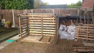 Pallet wood and scrap wood log store