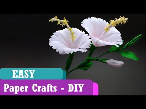 How To Make DIY Hibiscus Crepe Paper Flower |  Paper Art Tutorial | Guggu Kids thumbnail