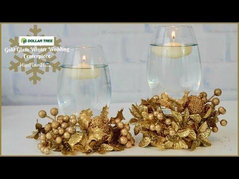 Dollar Tree Gold Glam  Wedding Centerpiece for $8! | Dollar Tree DIY | DIY Tutorial
