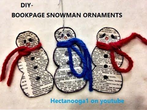 DIY:   BOOK-PAPER SNOWMAN CHRISTMAS ORNAMENT