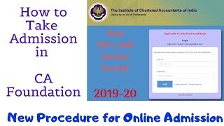 CA Foundation Admission Online SSP Portal ICAI