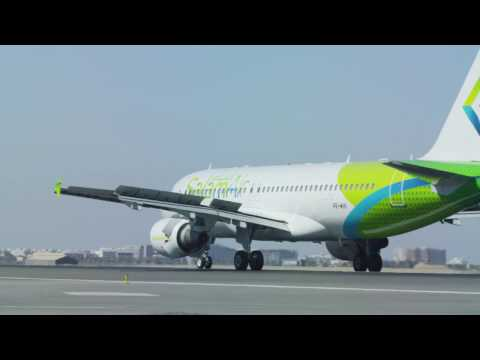 SalamAir takes flight for the first time in Muscat, Oman.