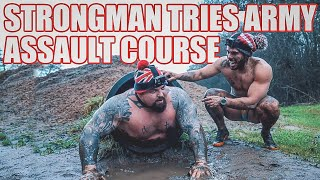 Strongman Tries Assault Course!! GET STUCK IN HOLE | Ft Ross Edgley