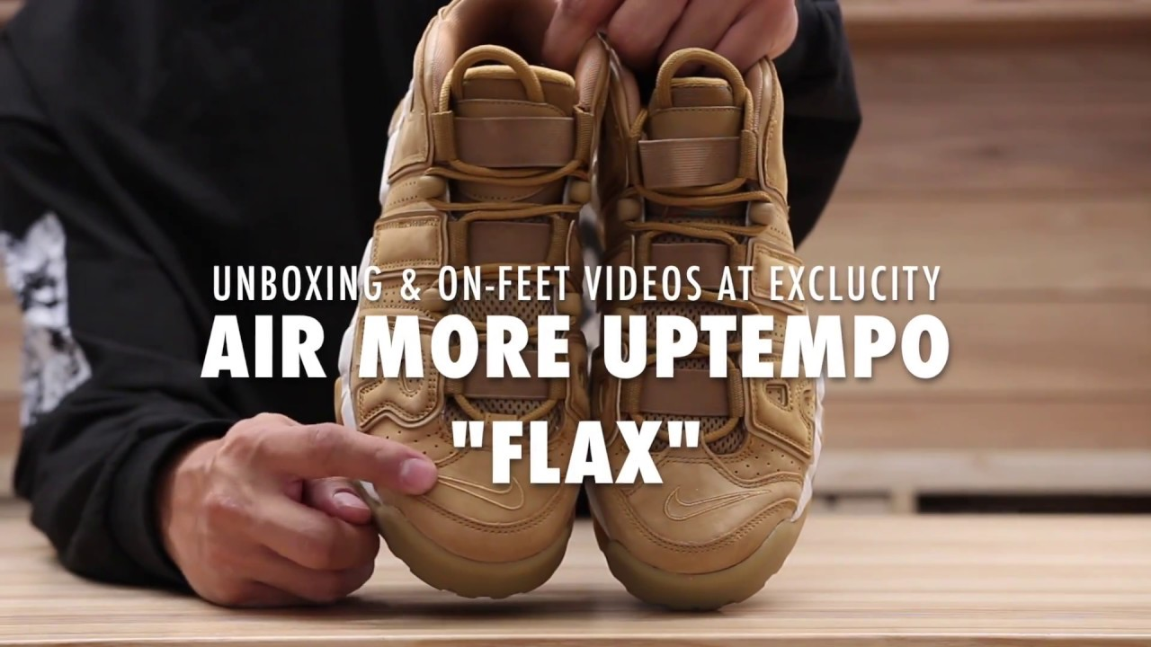 new products df0c6 efe19 Nike Air More Uptempo Flax Unboxing   On feet Video at Exclucity