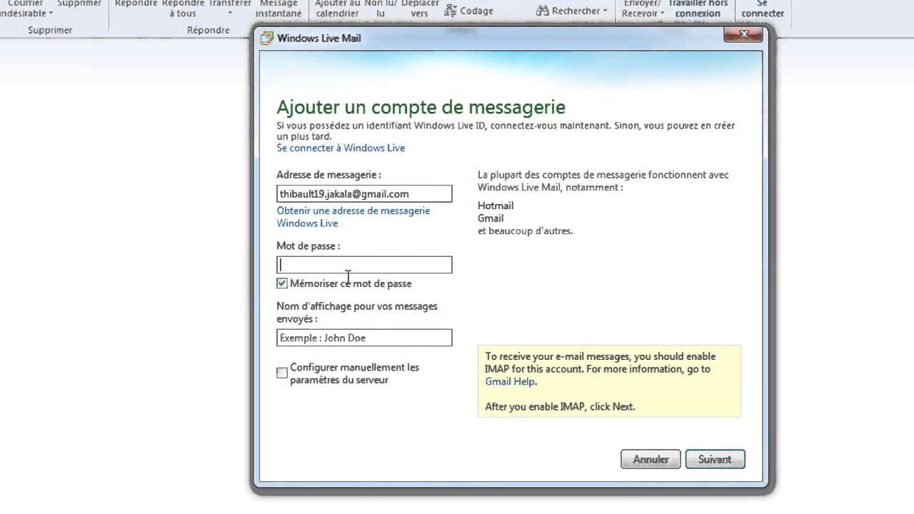 comment configurer windows mail avec free