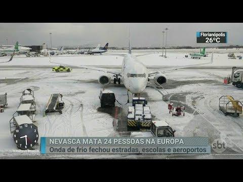 Chega a 24 o número de mortos por conta de nevasca na Europa | SBT Brasil (28/02/18)