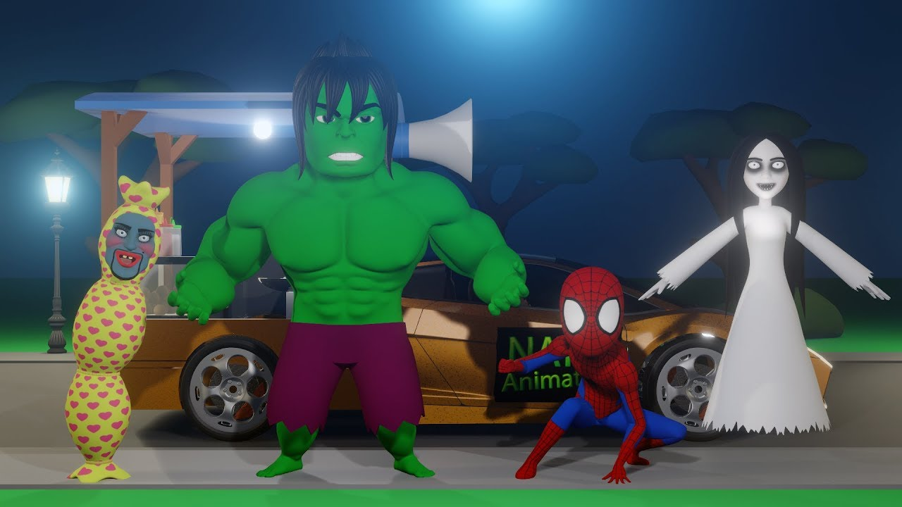 Kompilasi Kartun Horor Lucu Kuntilanak Pocong Spiderman Hulk 04 Youtube
