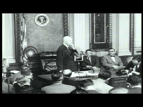 President Eisenhower talks about economy and taxes during a press conference in W...HD Stock Footage