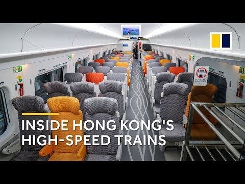 Subscribe to our YouTube channel here: https://sc.mp/2kAfuvJ  The Post got a glimpse at the high-speed train at MTR's Shek Kong stabling sidings.  The Guangzhou-Shenzhen-Hong Kong Express Rail Link is expected to open on September 23, 2018.