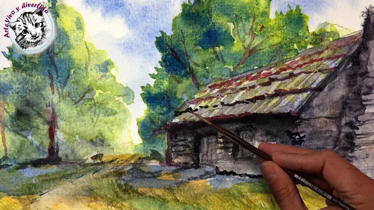 How To Paint A Watercolors Landscape With An Old Wood Cabin Step By Step